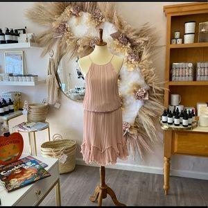 Halston Heritage Rose Pleated Cocktail Dress | 12